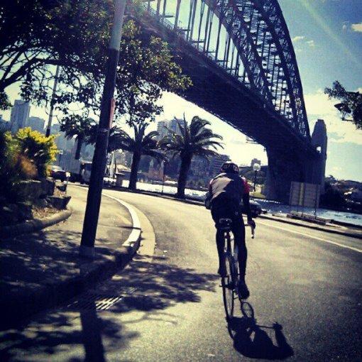 Sydney. On a bike.